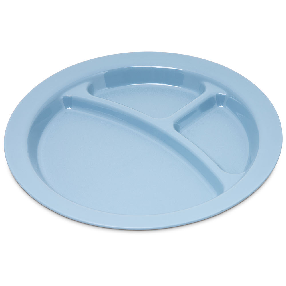 "Carlisle PCD22059 9"" Round Plate w/ (3) Compartments, Polycarbonate, Slate Blue"
