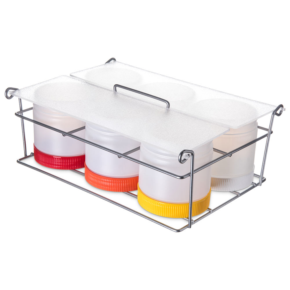 Carlisle PS101CS00 Condiment Caddy w/ (6) Pint Containers, Polyethylene, Clear