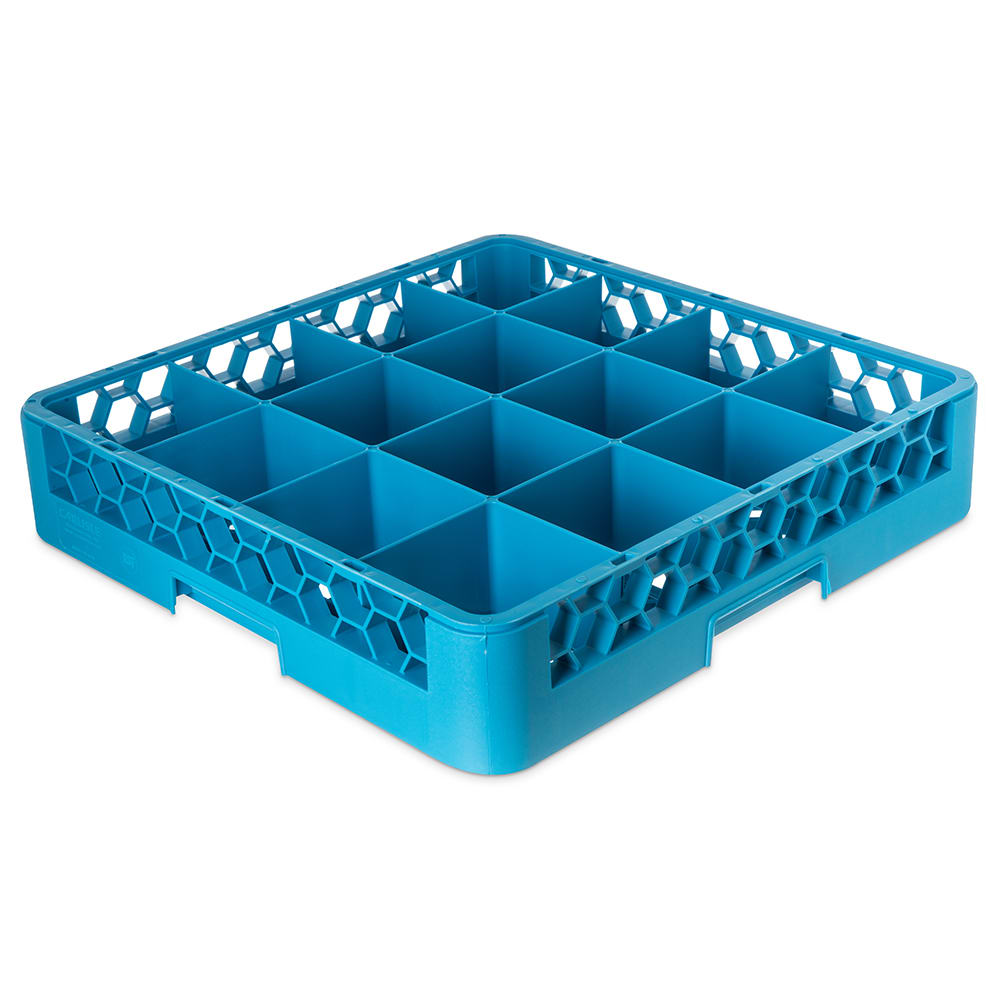 Carlisle RC1614 Full-Size Dishwasher Cup Rack w/ (16) Compartments, Polypropylene, Blue