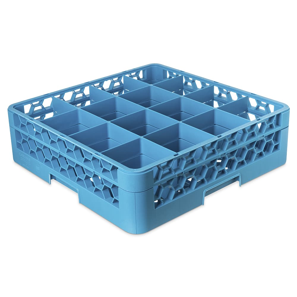 Carlisle RG16114 Full-Size Dishwasher Glass Rack w/ (16) Compartments & Extender, Blue
