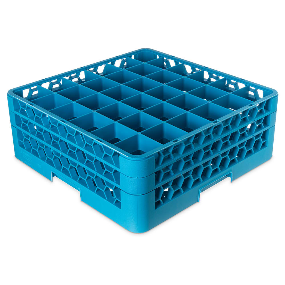 Carlisle RG36-214 Full-Size Dishwasher Glass Rack w/ (36) Compartments & (2) Extenders, Blue