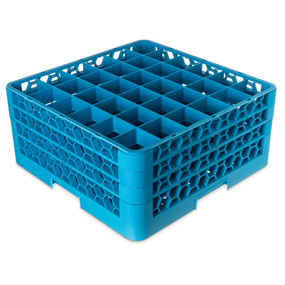 Carlisle RG36-314 Full-Size Dishwasher Glass Rack w/ (36) Compartments & (3) Extenders, Blue