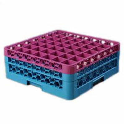 Carlisle RG49-2C414 Full-Size Dishwasher Glass Rack w/ (49) Compartments & (2) Extenders, Blue/Lavender