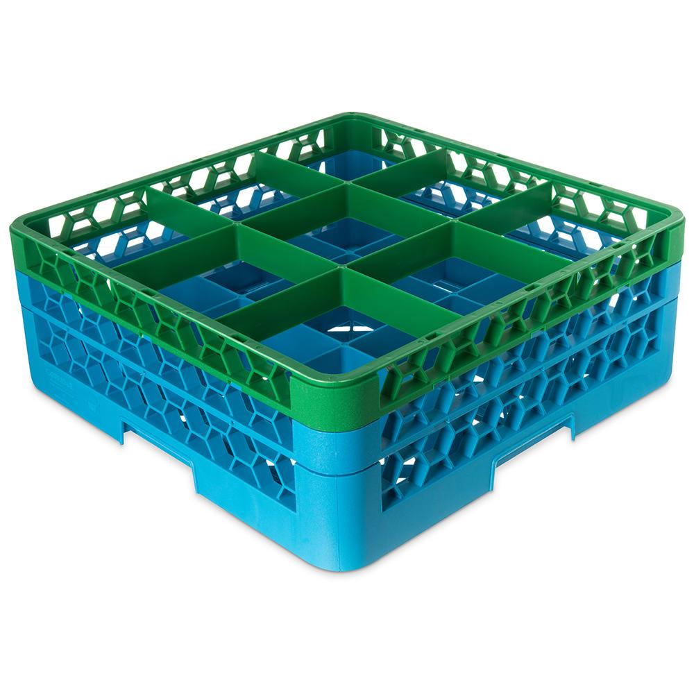 Carlisle RG9-2C413 Full-Size Dishwasher Glass Rack w/ (9) Compartments & (2) Extenders, Blue/Green