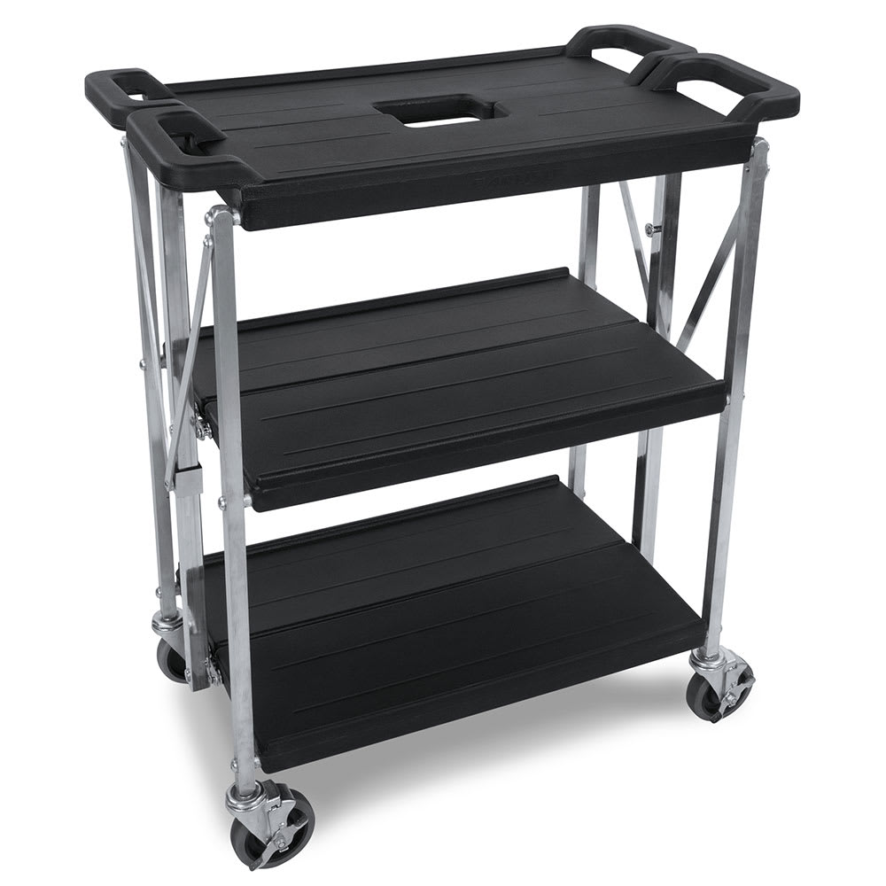 Carlisle SBC152103 3-Level Polymer Utility Cart w/ 350-lb Capacity, Flat Ledges