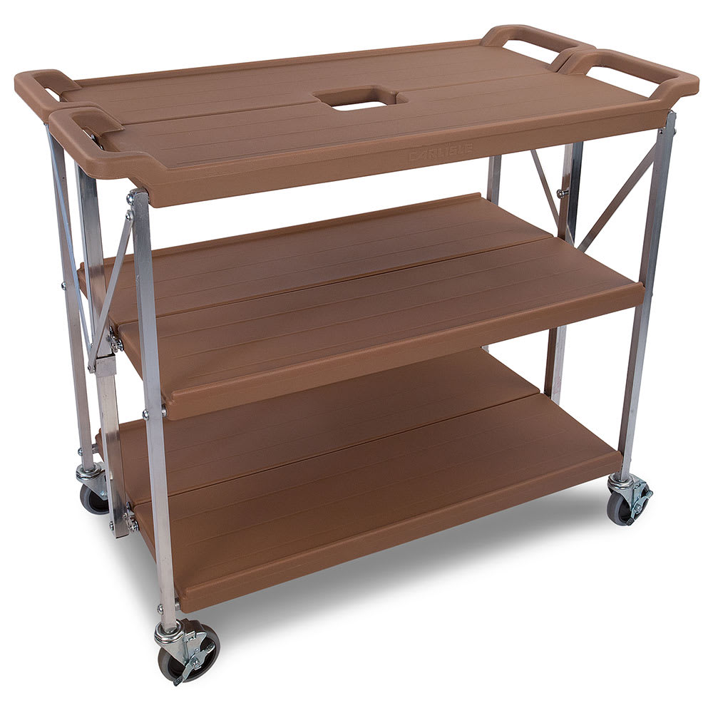 Carlisle SBC203125 3-Level Polymer Utility Cart w/ 350-lb Capacity, Flat Ledges