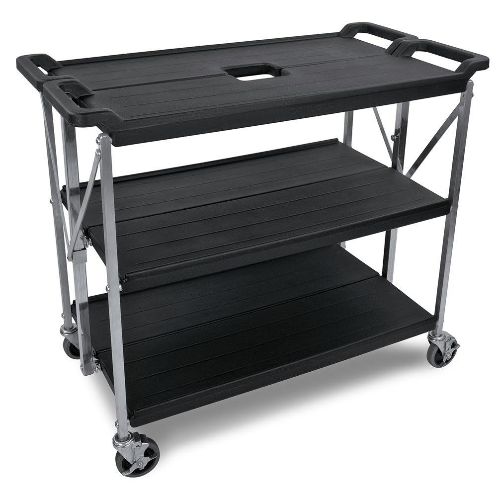 Carlisle SBC203103 3 Level Polymer Utility Cart w/ 350 lb Capacity, Flat Ledges