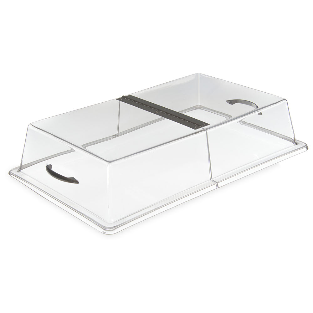"Carlisle SC2907 Pastry Tray Cover - 21.3125"" x 13.3125"" x 4"" Acrylic, Chrome/Clear"