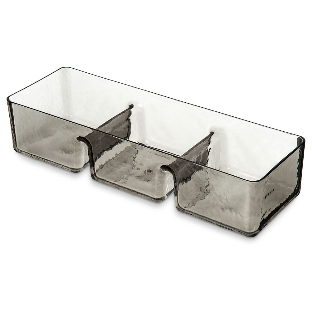 "Carlisle TRA0718 3 Compartment Server - 15"" x 5"" x 3.25"", Plastic, Smoke"
