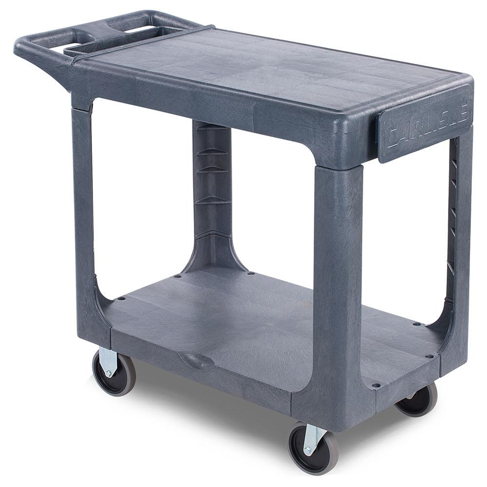 Carlisle UC194023 2 Level Polymer Utility Cart w/ 500 lb Capacity, Flat Ledges