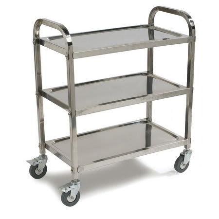 Carlisle UC4031733 3-Level Stainless Utility Cart w/ 400-lb Capacity, Raised Ledges
