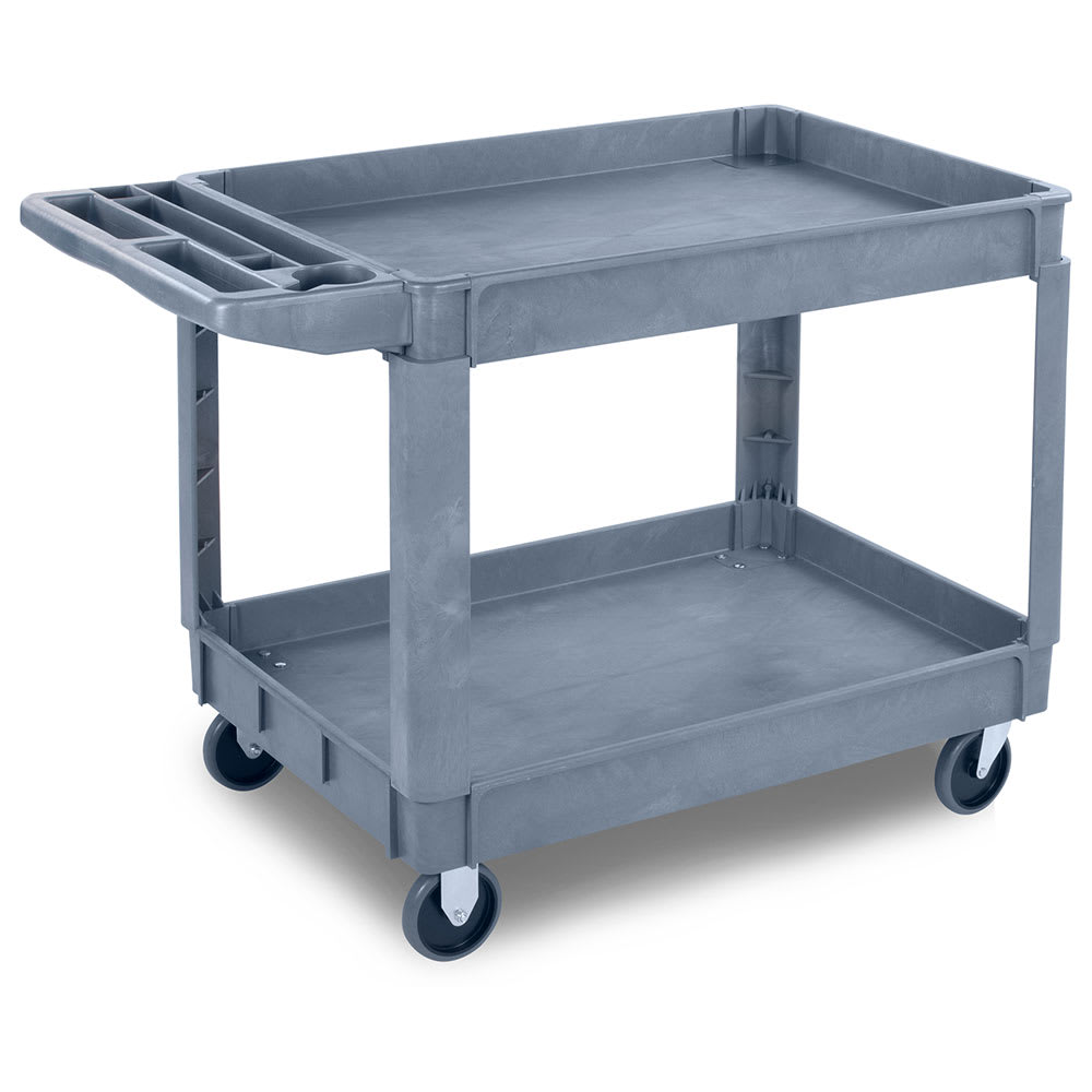 Carlisle UC452523 2-Level Polymer Utility Cart w/ 500-lb Capacity, Raised Ledges