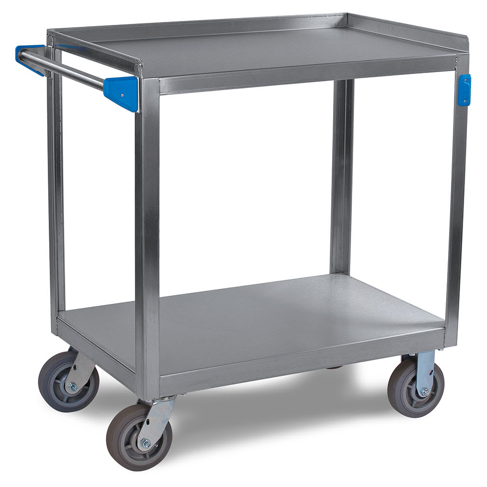 Carlisle UC7022133 2 Level Stainless Utility Cart w/ 700 lb Capacity, Flat Ledges