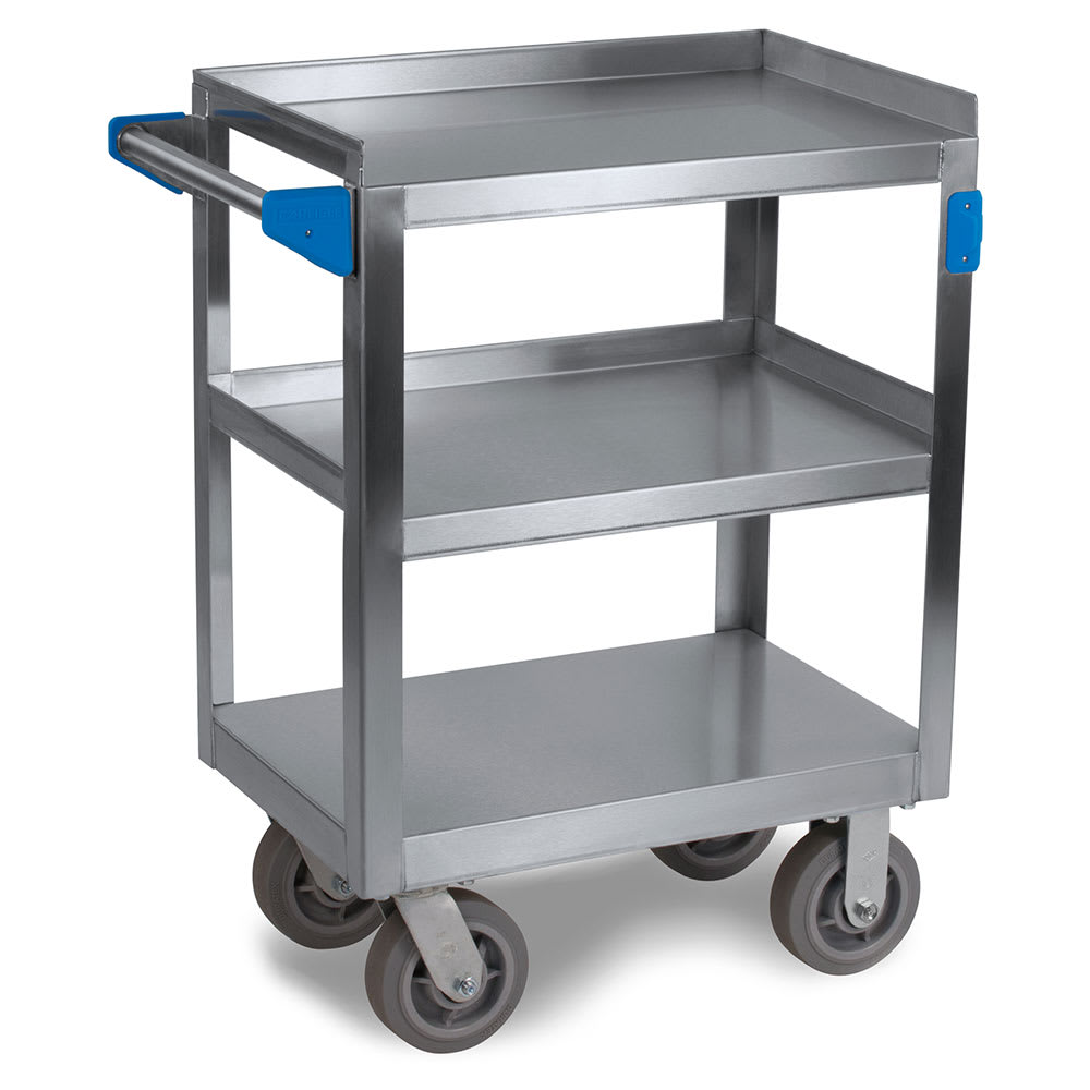 Carlisle UC7031524 3-Level Stainless Utility Cart w/ 700-lb Capacity, Flat Ledges