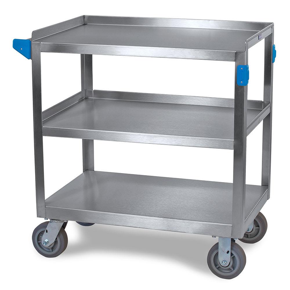 Carlisle UC7032133 3 Level Stainless Utility Cart w/ 700 lb Capacity, Flat Ledges