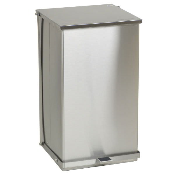 "Detecto C-100 25 gal Rectangle Metal Step Trash Can, 27.75""L x 16.75""W x 17.75""H, Stainless"