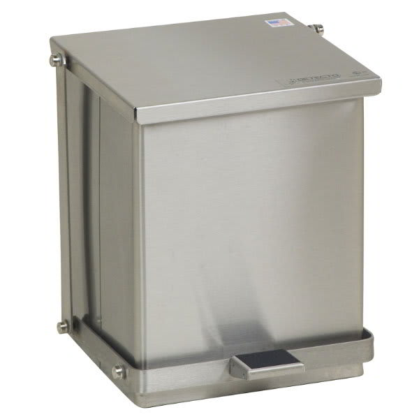 "Detecto C16 4-gal Rectangle Metal Step Trash Can, 13""L x 11.75""W x 13""H, Stainless"