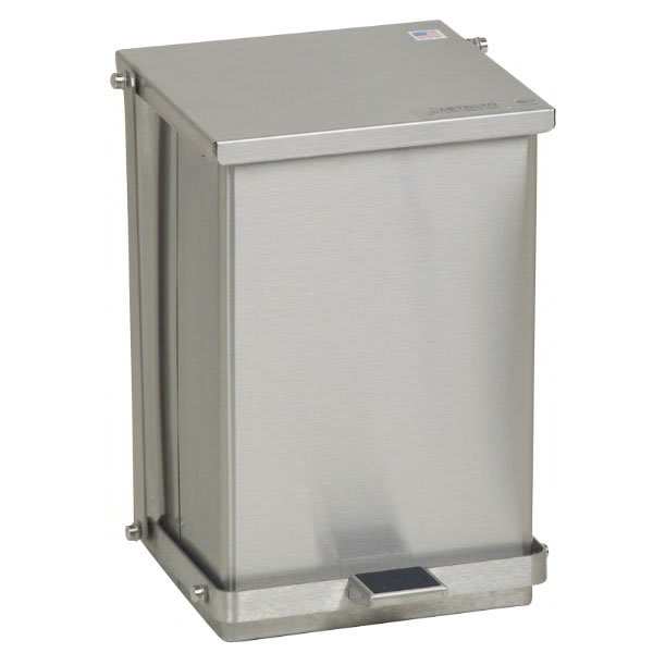 """Detecto C24 6-gal Rectangle Metal Step Trash Can, 16""""L x 11.75""""W x 13""""H, Stainless"""