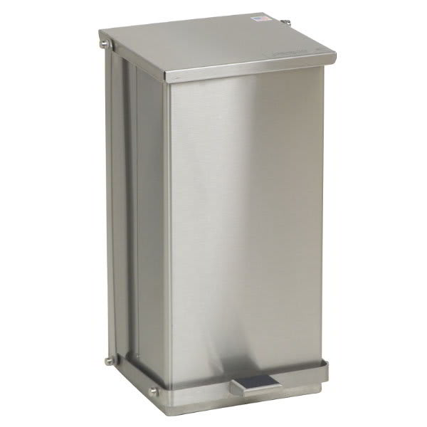 """Detecto C32 8-gal Rectangle Metal Step Trash Can, 21""""L x 11.75""""W x 13""""H, Stainless"""
