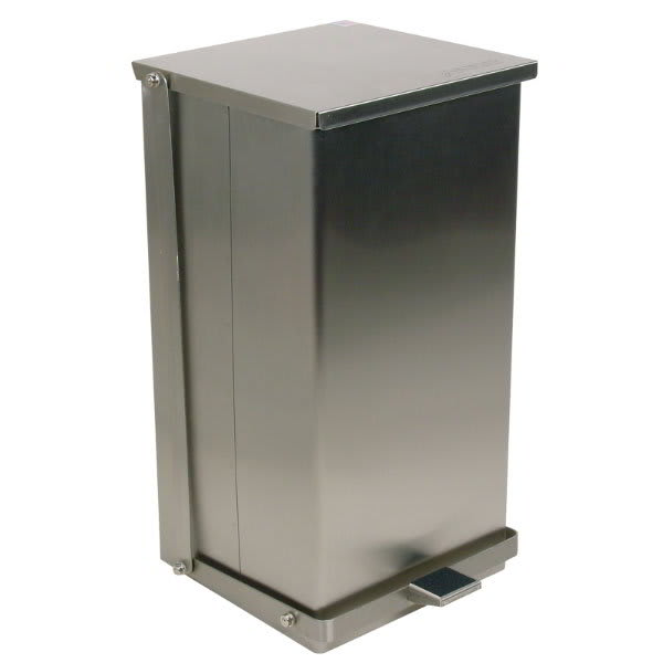 """Detecto C48 12 gal Rectangle Metal Step Trash Can, 23.5""""L x 13""""W x 14""""H, Stainless"""