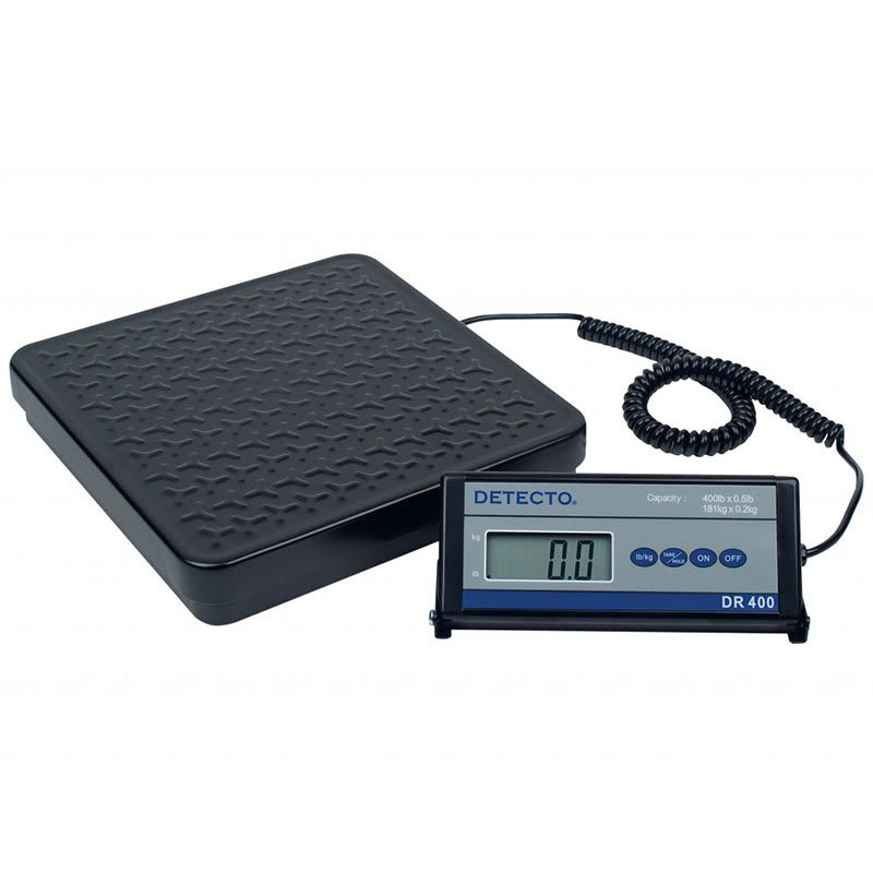 Detecto DR400 Digital Shipping Receiving Scale w lb kg Conversion, Display, 400 x .5-lb, 115v