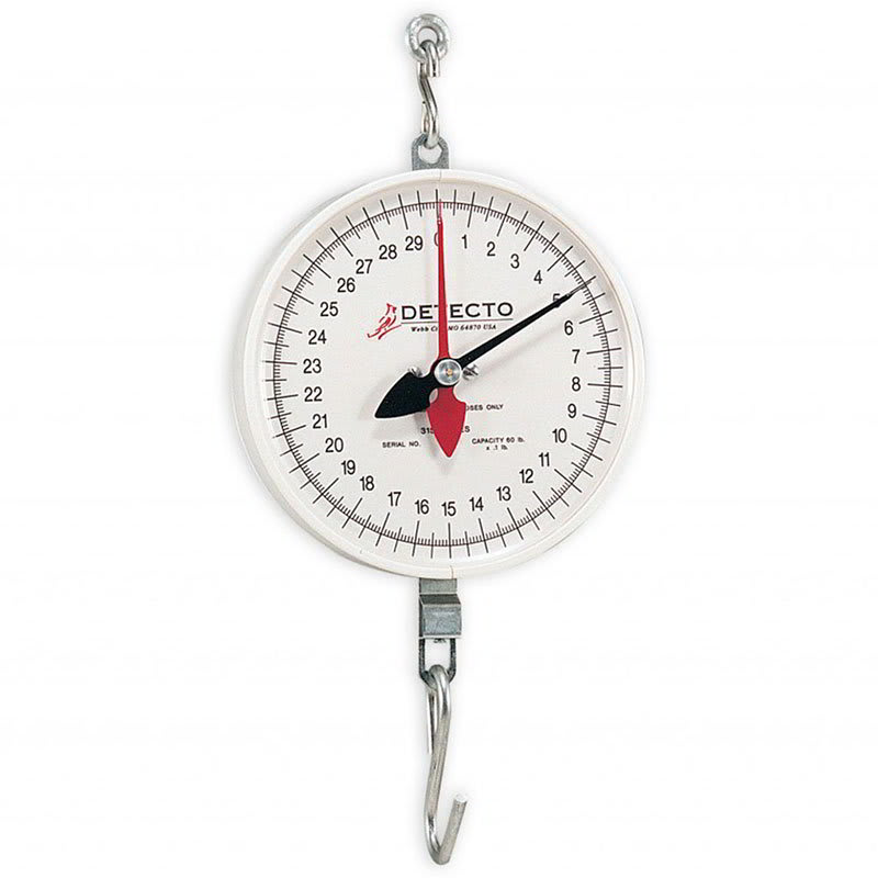 """Detecto MCS-20H Plated S-Hook Hanging Scale w/ 8"""" Dial, 2 Revolution, 20 lb"""