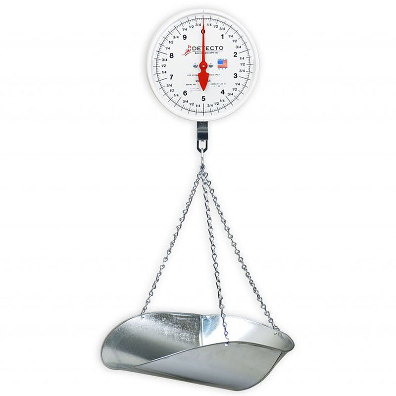 Detecto MCS-20KGP Dial Hanging Scale w/ Galvanized Scoop & Chains, 20-kg