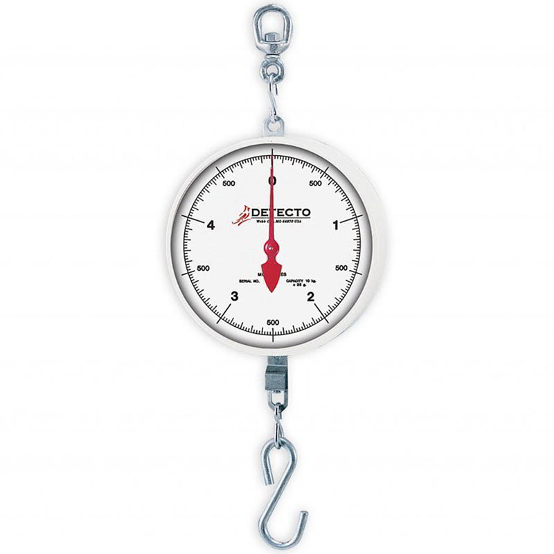 "Detecto MCS-60H Plated S-Hook Hanging Scale w/ 8"" Dial, 60-lb"