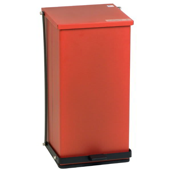 "Detecto P-100R 25 gal Rectangle Plastic Step Trash Can, 27.75""L x 16.75""W x 17.75""H, Red"