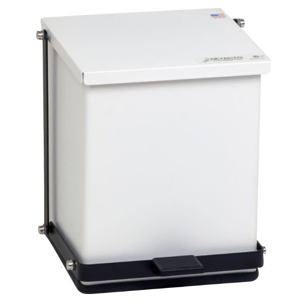 "Detecto P-16 4-gal Rectangle Plastic Step Trash Can, 13""L x 11.75""W x 13""H, White"