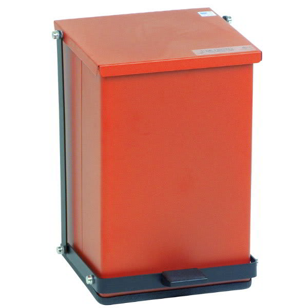 "Detecto P-24R 6 gal Rectangle Plastic Step Trash Can, 16""L x 11.75""W x 13""H, Red"