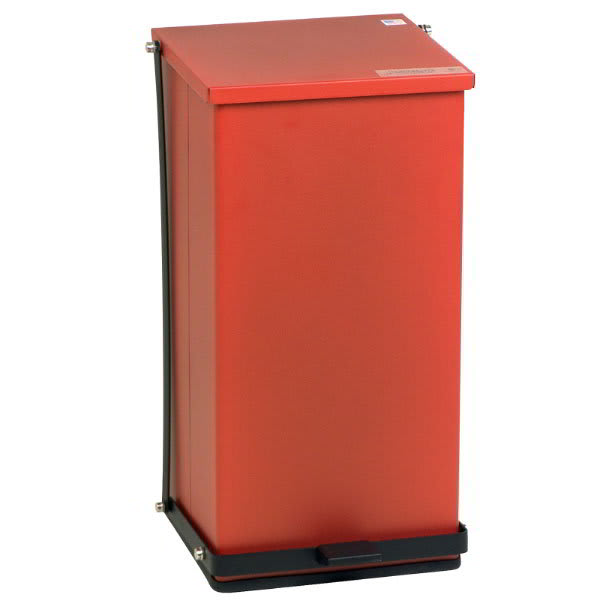 "Detecto P-48R 12-gal Rectangle Plastic Step Trash Can, 23.5""L x 13""W x 14""H, Red"