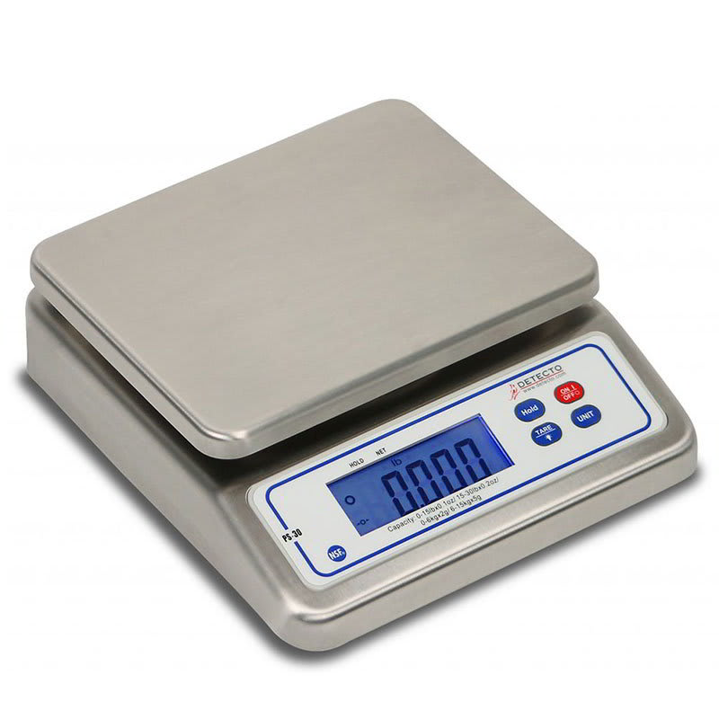 """Detecto PS30 30-lb Digital Portion Control Scale w/ LCD Display, 7"""" x 5.5"""", Top Loading"""