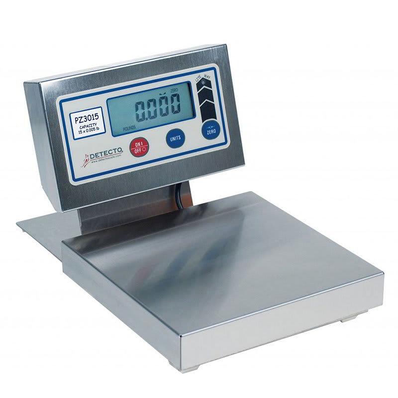 "Detecto PZ3015 Digital Pizza Ingredient Scale w/ 8 x 8"" Platter, 15-lb x .12-oz"