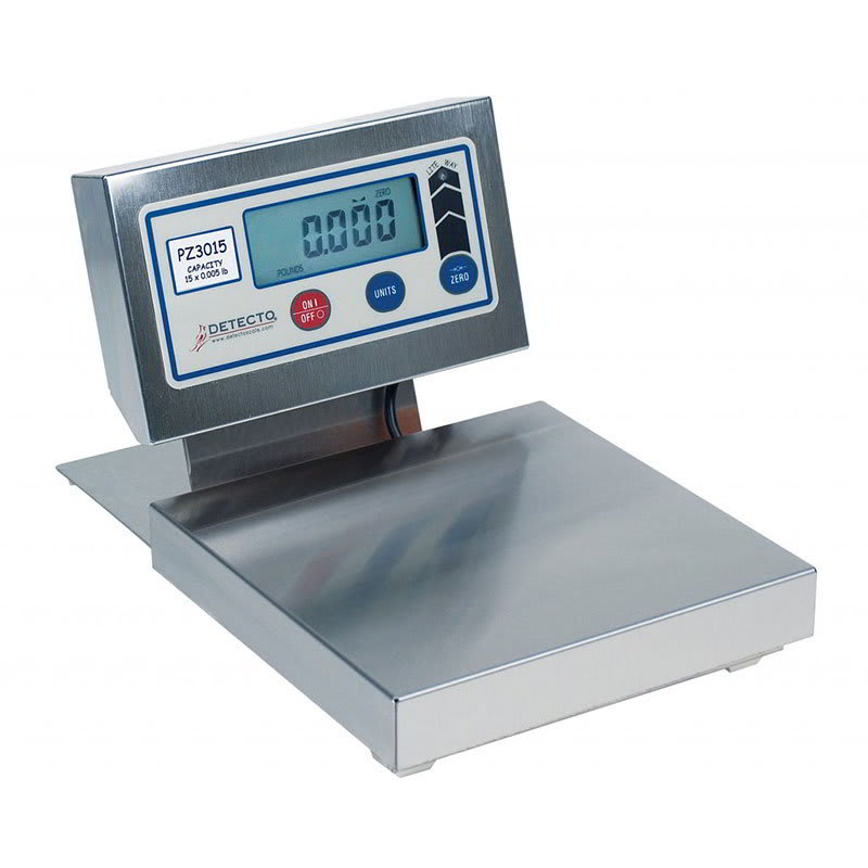 "Detecto PZ3015L Digital Pizza Ingredient Scale w/ 12 x 12"" Platter, 15-lb x .12-oz"