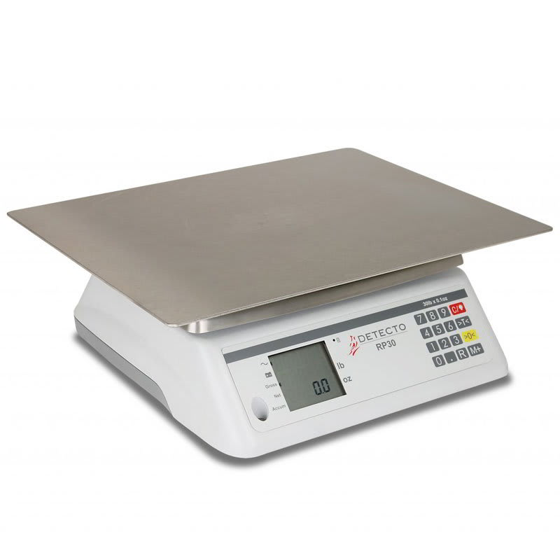 "Detecto RP30S 30-lb Rotating Scale w/ 13x17"" Rectangular Platter, LCD"