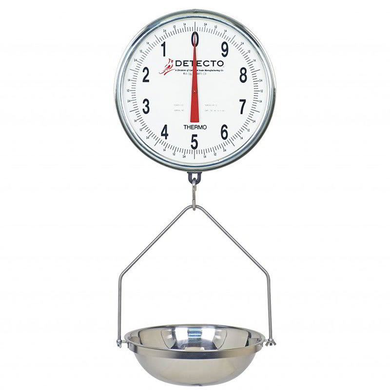 """Detecto T3530 Hanging Fish & Vegetable Scale w/ 15"""" Stainless Pan, 32 lb Capacity"""