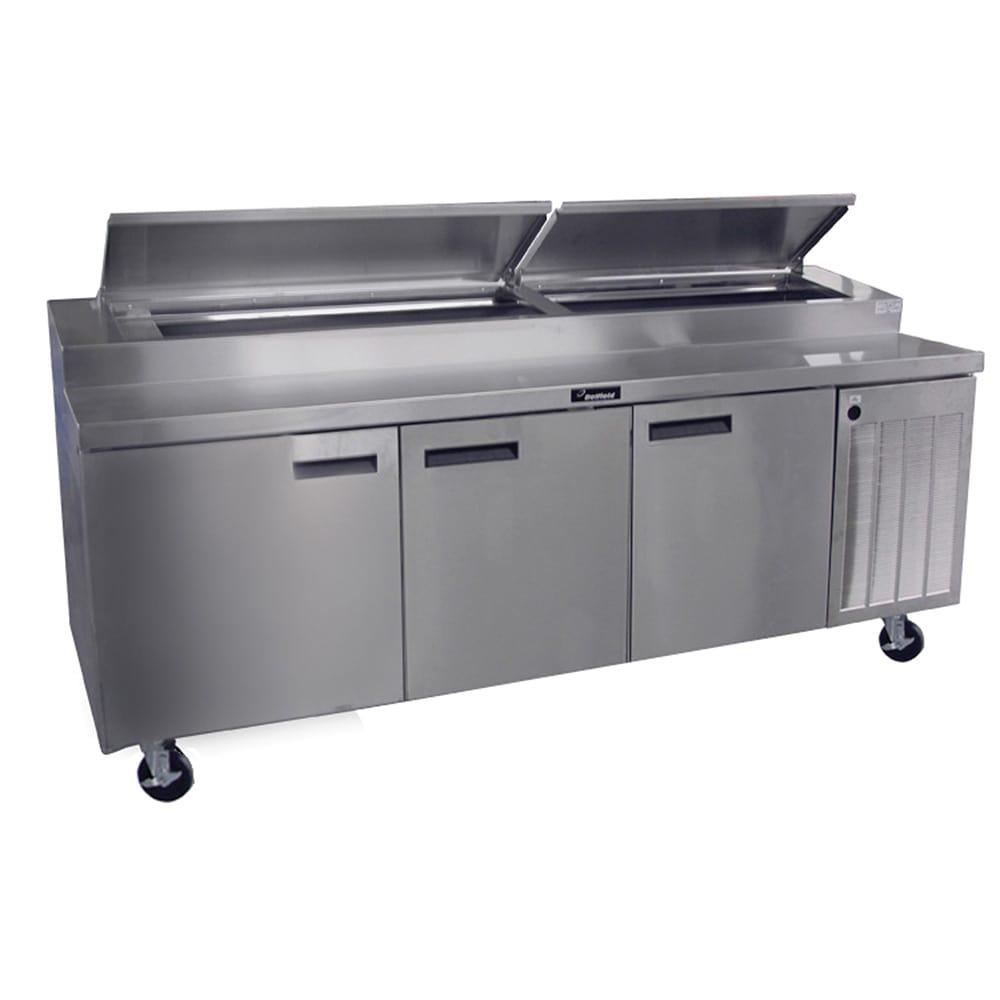 "Delfield 18699PTBM 99"" Pizza Prep Table w/ Refrigerated Base, 115v"