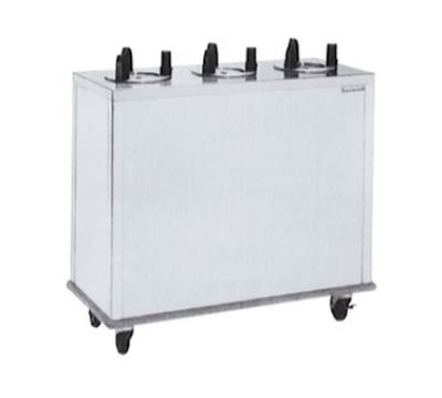 "Delfield CAB3-1013ET Enclosed Heated Plate Dispenser w/ 3 Self-Elevating Tubes, 10.12"" Diameter"