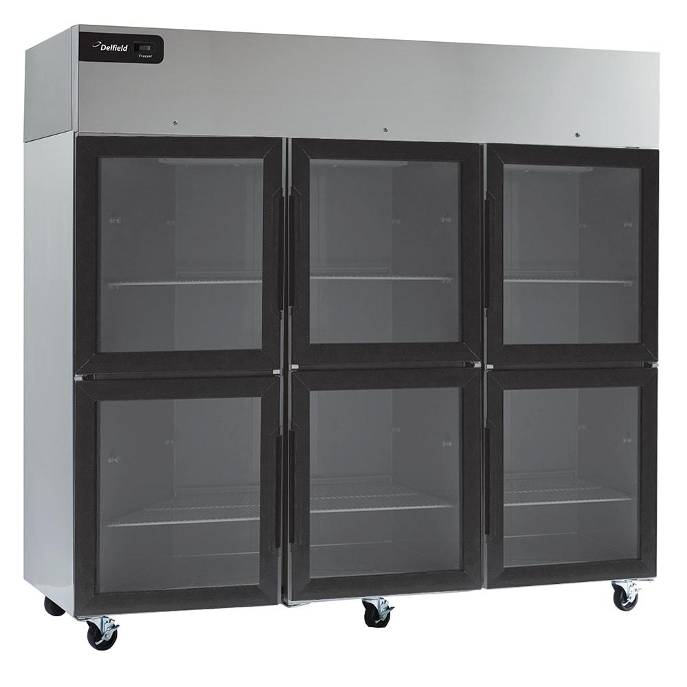 "Delfield CSR3P-GH 83"" Three Section Reach-In Refrigerator, (6) Glass Doors, 115v"