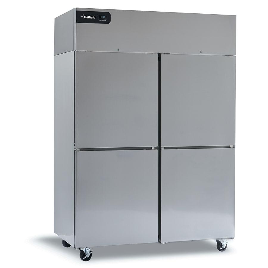 "Delfield CSRPT2P-SH 55"" Two Section Pass-Thru Refrigerator, (4) Solid Doors, 115v"