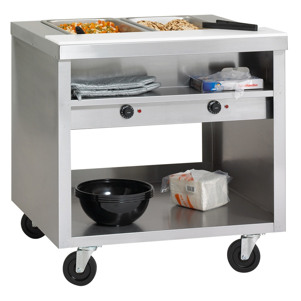 "Delfield EHEI60C 60"" Hot Food Table w/ 4 Wells & Poly Cutting Board, Casters, 208v/1ph"