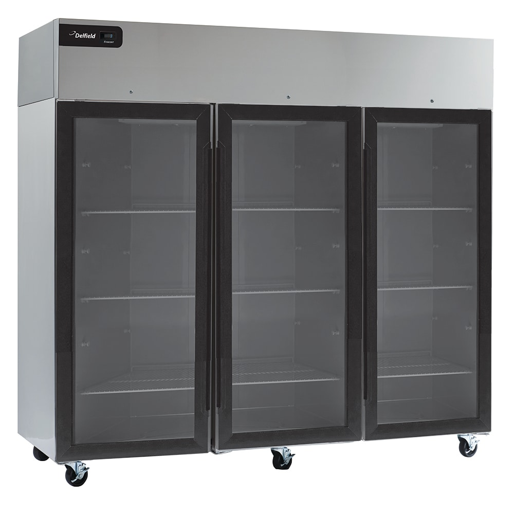"Delfield GBR3P-G 83"" Three Section Reach-In Refrigerator, (3) Glass Doors, 115v"