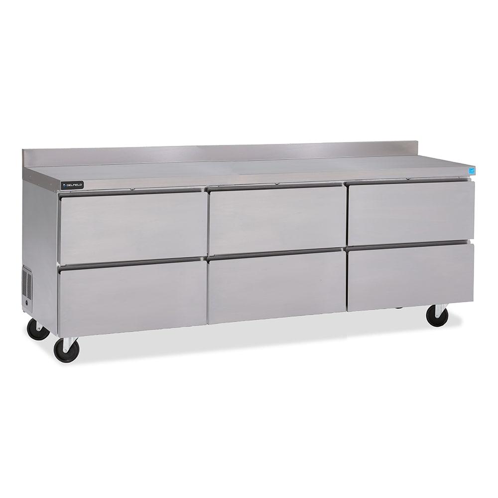 "Delfield GUR72BP-D 72"" Worktop Refrigerator w/ (3) Sections & (6) Drawers, 115v"