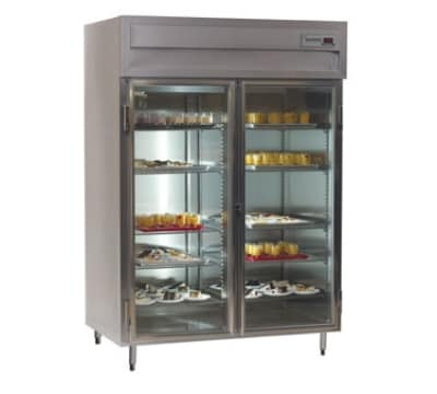 Delfield SSH2-G 2-Section Hot Food Cabinet w/ Full Glass Door, 51.92-cu ft, Stainless