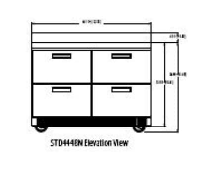 """Delfield STD4448N 48"""" Work Top Refrigerator w/ (2) Sections & (4) Drawers, 115v"""
