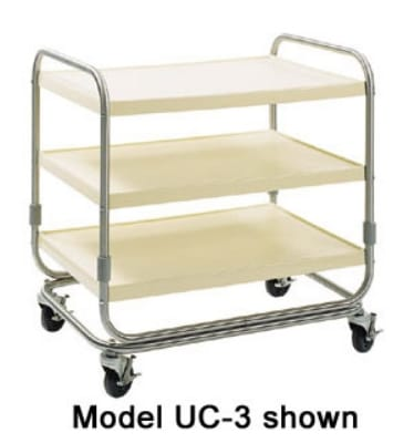 Delfield UC-3SS 3-Level Fiberglass Utility Cart w/ 600-lb Capacity, Raised Ledges