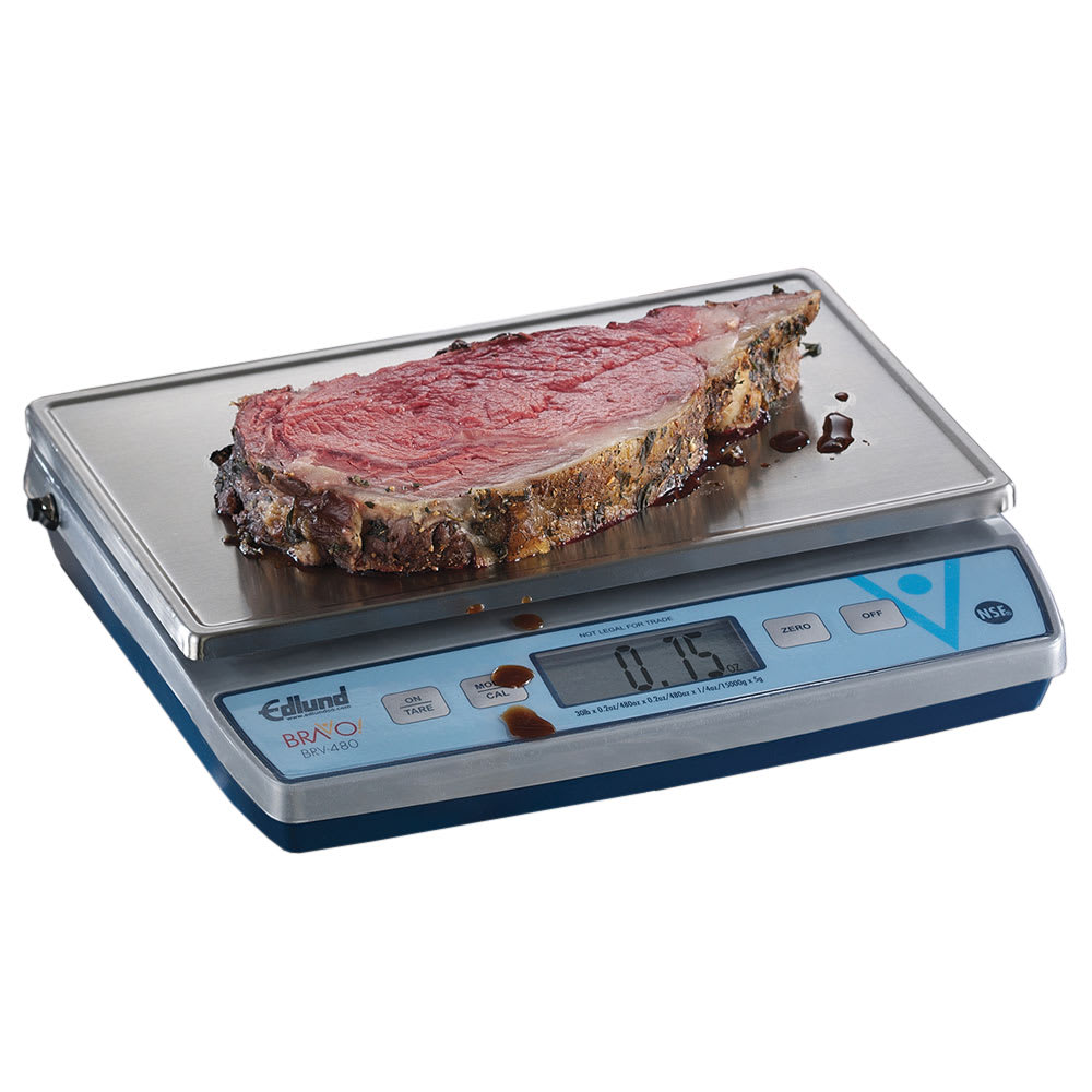"Edlund BRV-480 30 lb Square Digital Scale w/ Removable Platform - 11.4"" x 7"", Stainless"