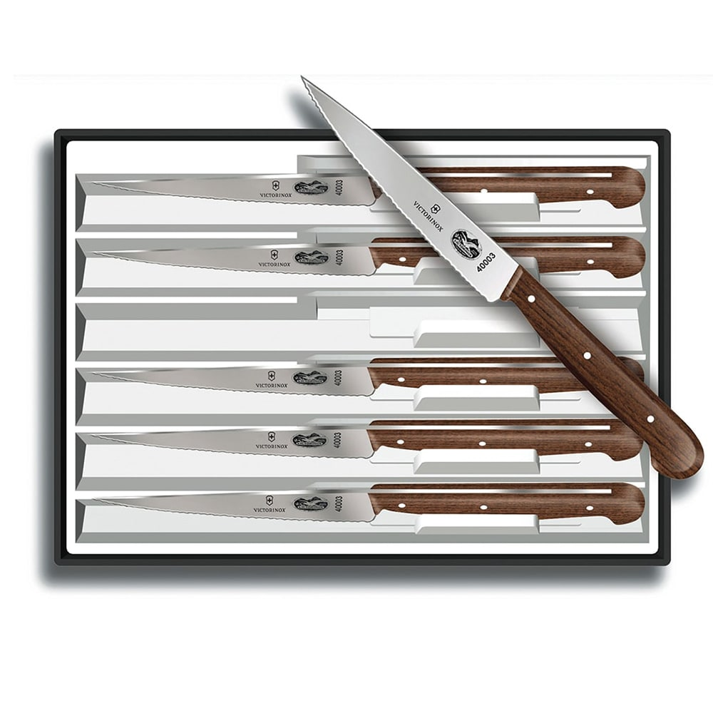 Victorinox   Swiss Army 46059 6 Piece Steak Knife Set W/ Spear Tip Blades,  Rosewood Handles