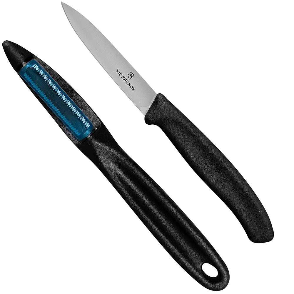Victorinox - Swiss Army 7.6075.7603.US1 Paring Knife & Peeler Set - Stainless Steel, Black Handles